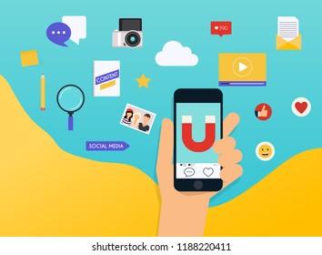 Social Media Marketing SMM explained. Flat design modern vector illustration concept.