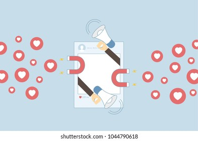 Social Media Marketing Solution - isolated on blue background. For web site,campaign,ui,ad and app. Business concept for attracting new followers and customers, vector illustration eps 10