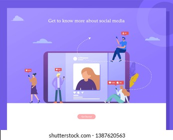 social media marketing vector concept illustration, happy woman and men give like comment on Instagram, can use for, landing page, template, ui, web, homepage, poster, banner, flyer, infographic