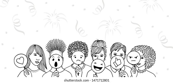 Social media masquerade - group of young people at a party hiding behind emoticons