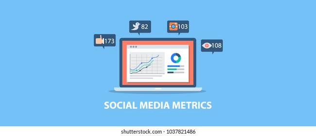 Social media metrics, analytics, audience engagement monitoring on laptop screen flat vector illustration