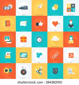 Social Media, minimal, stylish, flat style, colorful, vector design elements for info graphics, websites, mobile and print media.