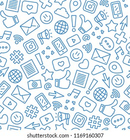 Social media minimalist seamless pattern. Internet messenger background. Vector illustration