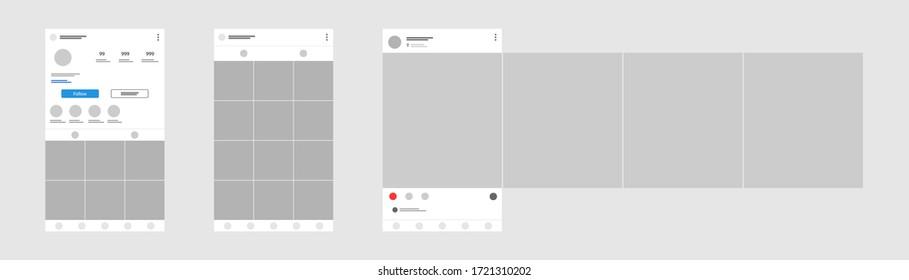 Social media mobile app page template. Carousel post. Minimal design.