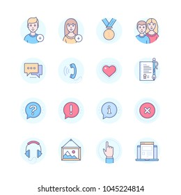Social media - modern line design style icons set in blue round frame. To add female or male user, medal, friends, chat, call, heart, certificate, music, gallery, website. Question, exclamation marks