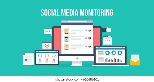 Social media monitoring software, displaying data analysis on tablet and laptop screen flat design vector with icons