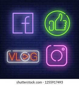 Neon Social Media Icons Images Stock Photos Vectors Shutterstock