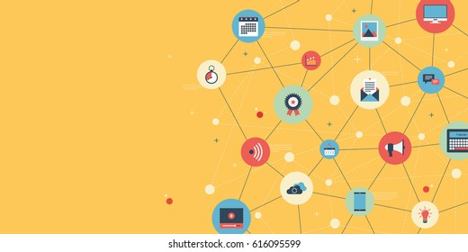 Social media network. Business digital content for marketing online connection. Connected symbols for digital, interactive, market, connect, communicate, global concepts. Vector illustration.