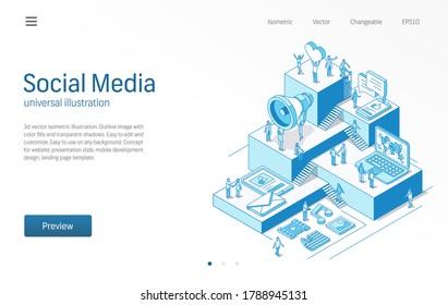 Social Media Network. Geschäftsleute arbeiten miteinander. Nachrichten, Trends, Inhalte, Kommunikation moderne isometrische Linien Illustration. Digitaler Markt, zum Beispiel, teilen Icon. 3D-Vektorgrafik. Wachstumsschrittkonzept