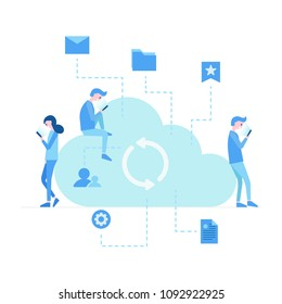 Social media network communication people. Illustration of young people using devices laptop and smartphone. Flat people addicted to network sitting near large cloud. Social media sharing banner