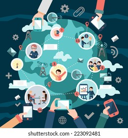 Social media network concept with business people avatars and hands holding mobile devices vector illustration
