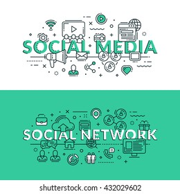 Social Media and Social Network Concept. Colored flat vector illustration in seagreen and white colors. Share ideas, online advertisement, chat, like, publicity.