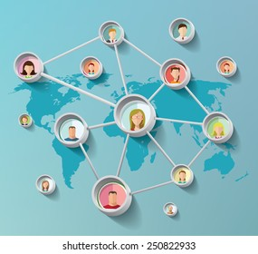 Social media network concept  with  faces  vector illustration