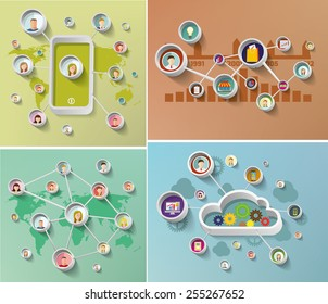 Social media network concept  with  faces  Set of vector illustration