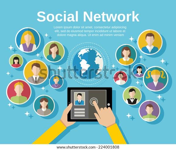 Концепция сети социальных сетей с человеческими руками с планшетными аватарами и глобусом на фоновом векторном изображении