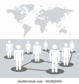 Social media network connection concept on the world map. vector illustration