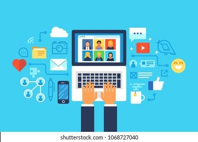 Social media network. Flat design modern vector illustration concept.