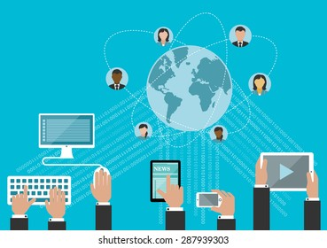 Social media network and global communication concept in flat style with hands using desktop computer, smartphone and tablet computers with data streams and globe surrounded user avatars