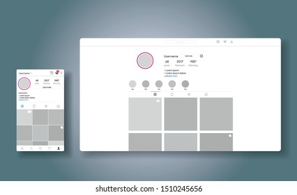 Social media network inspired by instagram. Ui Ux web responsive template of inst account. Mobile app and desctop. User profile, followers, highlights and post.  Vector illustration