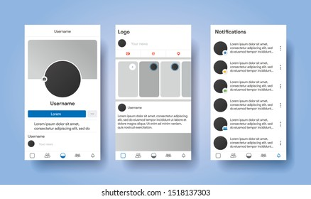 Social media network inspired by facebook. Mobile app with photos and story tile template. User profile, news, notifications and post mock up. Vector illustration template.