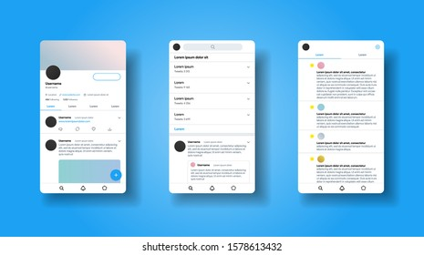 Social media network inspired by Twitter. Mobile app interface. Blog platform. Account with tweet and repost. Tweeter mobile interface design. Vector illustration.