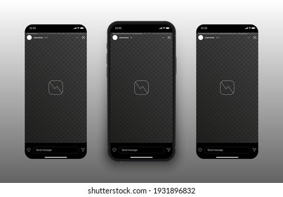 Social Media Network Instagram Stories Carousel On Mobile Phone Screen Vector Mockup Isolated On Abstract White Background. Stories Timeline Template On Blank Device Screen UI Graphic Design