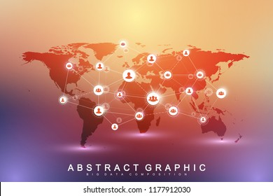 Social media network and marketing concept on World Map background. Global business concept and internet technology, Analytical networks. Vector illustration.