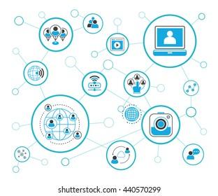 social media and network, vector illustration