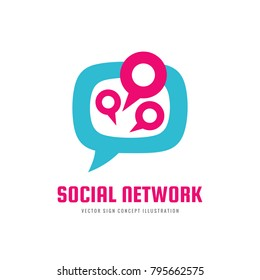 Social media network - vector logo template concept illustration. Message communication creative abstract sign. Speech bubble icon. Chat talking symbol. Graphic design element.