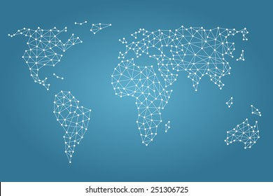 Social media network. World map with nodes linked by lines.