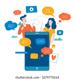 Social media, networking, chatting, texting, communication, online community, posts, comments, news flat vector illustration. People with speech bubbles. Design for mobile and web graphics