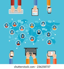 social media networks and communication concept flat design illustration. hands holding and using computer keyboard tablet laptop smart phone and set of people avatars and icons