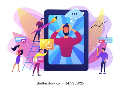 Social media networks content creating and sharing. Online communication. Internet meme, meme culture trends, best viral content production concept. Bright vibrant violet vector isolated illustration