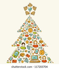 Social media networks icon set in Christmas pine tree. Vector illustration layered for easy manipulation and custom coloring.