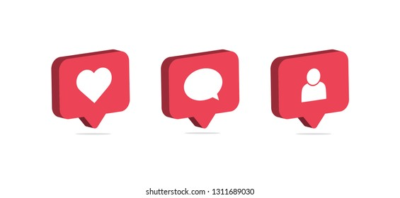 Social media notification icon. Follow, comment, like icon. 3d design. Vector illustration