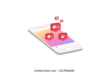 Social media notification icon. Follow, New comments, Like icon. 3d isometric modern design, Vector illustration