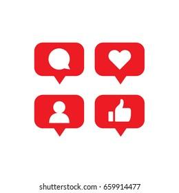 Social media notification icons. Flat design.