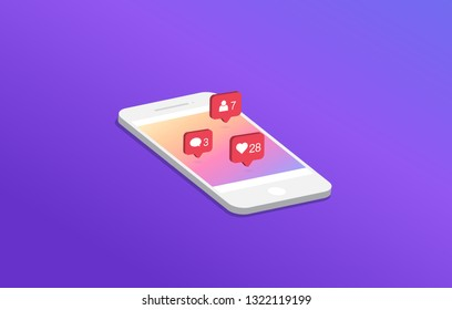Social media notification on smartphone. Like, comment, follow icon. Trendy modern design. Gradient Background. Vector illustration