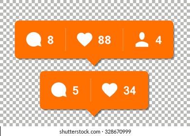 Social media notification vector templates