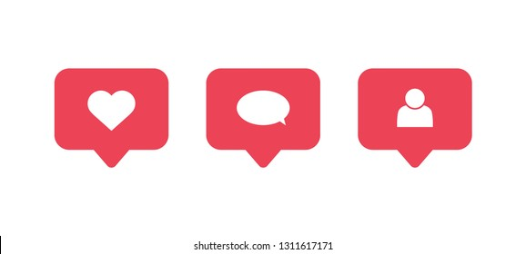 Social media notifications icons. Like, comment, follow icon. Social network app symbol. Vector illustration