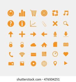 Social and media orange icons
