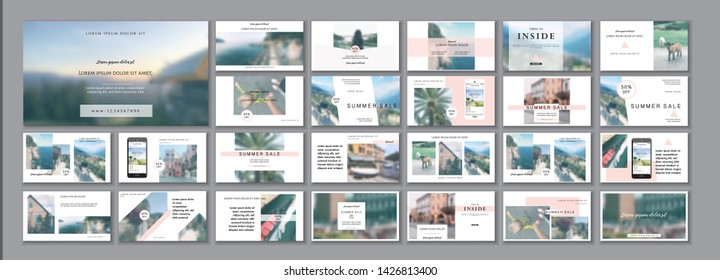 Social media pack. Business presentation template. Set of modern blog posts or Editable simple info banner, trendy book cover idea. For app, web mail digital display style. Minimal. beauty shop. ppt