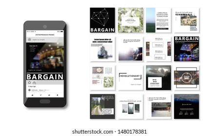 Social media pack. Set of creative modern blog posts or Editable simple info banner shop, trendy covers idea. smm. Square white Cards handpick. Slides for app, web digital travel style.