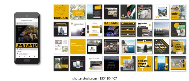 Social media pack. Set of creative modern blog posts or Editable simple info banner shop, trendy covers idea. smm. Square orange black white Cards handpick. Slides for app, web digital travel style.