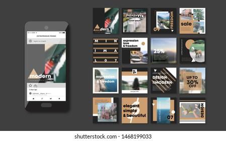 Social media pack. Slides for app, web digital style. Set of creative modern blog posts or Editable simple info banner shop, trendy covers idea. Square black-white monochrome Cards handpick. smm