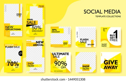 Social media pack template for discount and special offer. Modern promotion square web banner for mobile apps. Geometric abstract pattern frame and  background layout. Vector