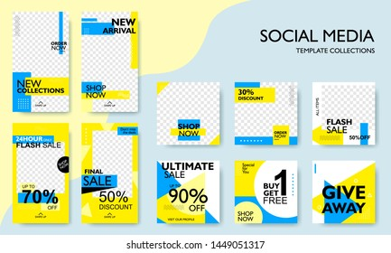 Social media pack template for discount and special offer. Modern promotion square web banner for mobile apps. Geometric abstract pattern frame and  background layout. Vector illustration