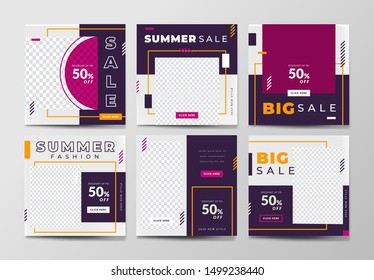 Social media pack template for discount and special offer. Modern promotion square web banner for mobile apps. Geometric abstract frame and background layout