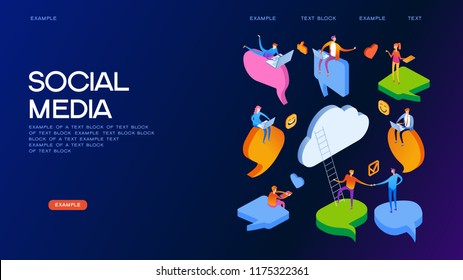 Social media. People chat in social network. Dialogue speech bubbles.  Businessmen discuss. 3D vector isometric illustration.