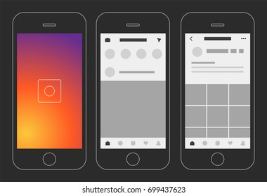 Social media photo app display vector